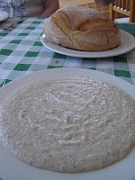 Whenever I visit Cafe Bar Almería in the mountain village of Enix I order a dish of ajo blanco in which to dip the doorsteps of crusty bread. It only costs a few euros for this scrummy dish made from almonds and garlic but it is enough for four or five people to pass a pleasant interlude whilst waiting for their main course, especially when washed down with glasses of country wine! It is peasant food but delightful!