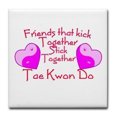 "Tae Kwon Do Valentine Pink Yin Yang Heart Tile Coa Tile Coaster by CafePress . $12.50. Ceramic. Dishwasher safe. Not for use with abrasive cups and mugs. Four felt pads protect your furniture from scratches. 4.25"" x 4.25"" and 1/6-inch thick. Special valentine for Taekwondo martial artist friend. Features yin yang hearts in shades of pink. Text reads Friends that kick together stick together. Great gift for martial arts black belt buddies."