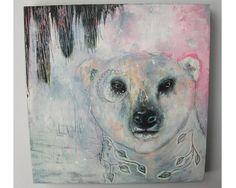 folk art Original polar bear painting whimsical by thesecrethermit