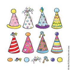 Party Hats Clipart Birthday Party Cute Doodles by MayPLDigitalArt #PartyHatsClipart #DIYBirthdayParty #BirthdayPartyDoodles