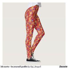 life motto - be yourself graffiti Life Motto, Graffiti, Funny, Pattern, Pants, Design, Women, Fashion, Trouser Pants