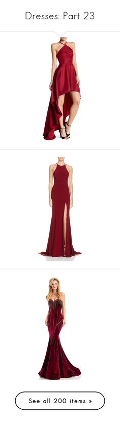 """Dresses: Part 23"" by kelseystan97 ❤ liked on Polyvore featuring dresses, gowns, wine, red halter top, red gown, halter dress, high low ball gown, red halter dress, gown and cut out evening dress"