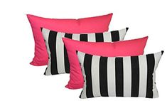 Set of 4 Indoor  Outdoor Decorative Lumbar  Rectangle Pillows  2 Black  White Stripe and 2 Solid Hot Pink <3 This is an Amazon Associate's Pin. Clicking on the image will lead you to the Amazon website.