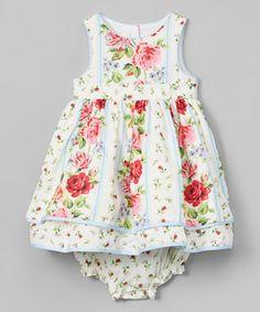 White Floral Ruffle-Hem Dress & Diaper Cover - Infant, Toddler & Girls