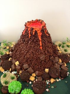 Chocolate Crackle Volcano Cake, use the giant twizlers out of the top for shooting lava!