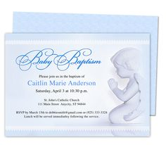 Baby Boy Baptism/Christening Invitations: Printable Angelo Baby Baptism Invitation Template