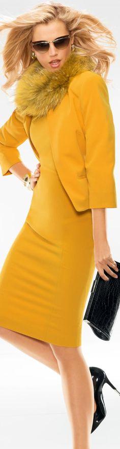 Madeleine yellow dress and jacket Beauty And Fashion, High Fashion, Winter Fashion, Womens Fashion, Fashion Trends, Races Fashion, Petite Fashion, Fashion Bloggers, Curvy Fashion