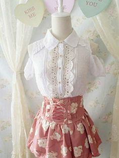Princess Lolita kawaii Japanese pink flower dress + lase off-shoulder top (SET) #Unbranded #Top #Casual