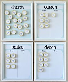 I like the idea of magnets they can move themselves when they complete a chore! Only thing I might add is photos of the chore to be done.  A Lemon Squeezy Home: Chore Charts {diy} So so so so so totally doing this!