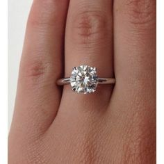 Certified Classic Four Prong Solitaire 1.25Ct. Diamond Engagement Ring ($2,000) ❤ liked on Polyvore featuring jewelry, rings, band engagement rings, diamond solitaire, diamond solitaire ring, round engagement rings and 14k engagement ring