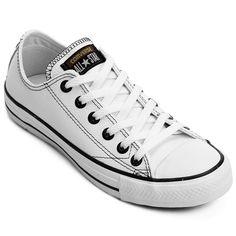 Trazendo cabedal em couro, o Tênis Converse All Star Ct As European Ox Branco e Preto proporciona facilidade para a limpeza do calçado. Além disso, confere estilo urbano e descolado às produções. | Netshoes