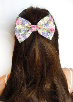 Bow - Spring Hair Bow Floral Bow Flower Bow Hair Bows Girls Hair bow For Hair Fabric Bows Bun Bow Sweet Hair Bow Princess HairBows