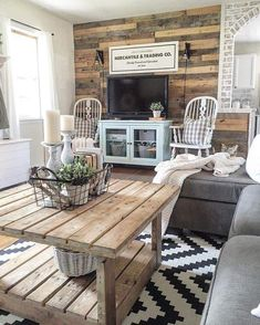 Bright & airy cabin living room - TV cabinet is a great pop of subtle color #familyroomdesigncozy