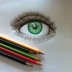 Eye drawing- I have never drawn a realistic eye in color- That eye color is beautyful