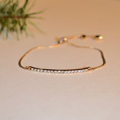 $11.00 Gold Bar Slider Bracelet, crystals in a pave setting, gold chain bracelet, dainty gold bracelet, pave bar, Gift for her by JanysJewelryBox on Etsy