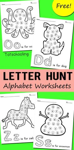 Alphabet Letter Hunt Worksheets FREE alphabet printables for preschoolers to practice letter recognition. No-prep worksheets to find and dot each letter of the alphabet. Great to use with do-a-dot markers. Teaching Letters, Preschool Letters, Free Preschool, Preschool Learning, In Kindergarten, Letter Recognition Kindergarten, Alphabet Games For Kindergarten, Learning Games For Preschoolers, Letter Worksheets For Preschool