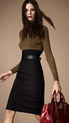 Colour Block Fitted Jumper Dress   Burberry