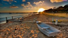 Słońca, Morze, Łódki, Plaża, Zachód