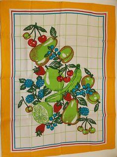 COTTON TOWEL / Vintage dishtowel / Fruit print by EUvintage, $12.00