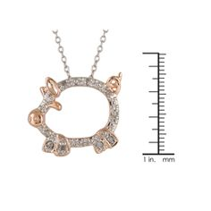 @Overstock - This adorable pig critter pendant is set with 10 sparkling white diamonds. Crafted of fine sterling silver with a highly polished rhodium finish, the necklace includes a matching 18-inch cable chain.http://www.overstock.com/Jewelry-Watches/Silver-and-Rose-Gold-1-10ct-TDW-Diamond-Pig-Critter-Necklace-I-J-I3/5137218/product.html?CID=214117 $42.99