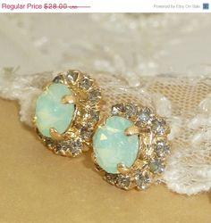 SALE Mint Opal Crystal Stud Earrings, Bridesmaids Gift, Crystal Rhinestone Sawrovski , 24k Gold Mint Gray Small Post Earrings,Christmas Gif