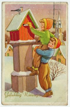 Postcards - Greetings & Congrads #  566 - Happy New Year - Children Mailing a Letter
