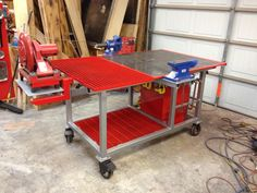 Welding Table Build with Tool Storage, Vise, Plasma Cutting Area, and Metal Chop Saw