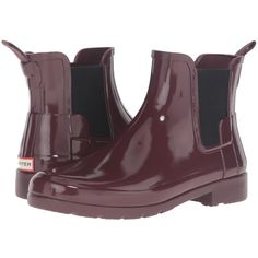 Hunter Original Refined Chelsea Gloss (Dulse) Women's Rain Boots ($100) ❤ liked on Polyvore featuring shoes, boots, platform shoes, rain boots, rubber boots, water proof boots and low heel boots