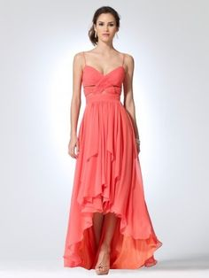 dresslove. coral colors are fun! *A-line Spaghetti Straps Asymmetrical Chiffon Formal Dress With Pleating at Msdressy*
