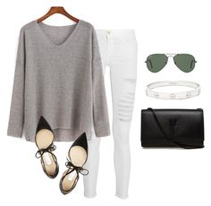 """""""Untitled #169"""" by preplife27 ❤ liked on Polyvore featuring Frame Denim, Jimmy Choo, Yves Saint Laurent, Ray-Ban, Cartier, women's clothing, women, female, woman and misses"""
