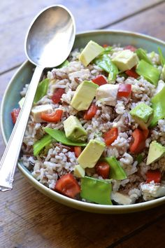 A hearty chicken salad with wild rice, a rainbow of crunchy vegetables and creamy avocado. Perfect for lunch or dinner.