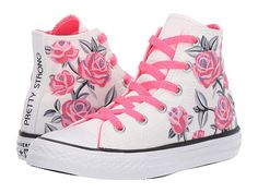 Converse Kids Chuck Taylor All Star Pretty Strong - Hi (Little Kid/Big Kid) Girls Shoes White/Racer Pink/Black Kid Shoes, Girls Shoes, Me Too Shoes, New Converse, Converse Chuck Taylor All Star, Kids Sneakers, High Top Sneakers, Elle Shoes, Discount Shoes