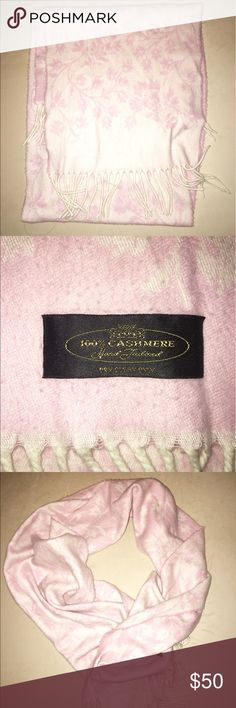 100% Cashmere Scarf This pink flowered 100% cashmere scarf is the perfect addition to any fall or winter wardrobe. The soft material is extremely comfortable to wear and protective against cold weather. Accessories Scarves & Wraps