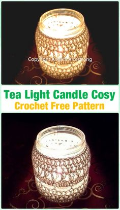 Crochet Tea Light Candle Cosy by Angela Armstrong