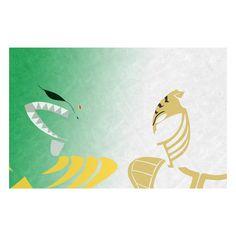 Minimalist Art Poster of Green Ranger and White Ranger - A Design Geek