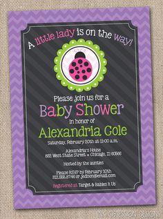 Little Lady Ladybug and Purple Chevron Stripes Baby Shower Invitation