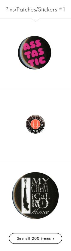 """""""Pins/Patches/Stickers #1"""" by headbangingunicorn ❤ liked on Polyvore featuring accessories, pins, buttons, fillers, other, costumes, roaring twenties costumes, 20s halloween costumes, roaring 20s costumes and 1920s halloween costume"""