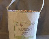 Clothespin Bag, Fabric Basket,  Button Handle, Retro Style, Laundry