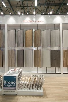 Intermob - International furniture and wood technology fair in Istanbul, Turkey. Krono Originals's and Modera Classic flooring solutions. Showroom Interior Design, Tile Showroom, Furniture Showroom, Furniture Design, Stand Design, Booth Design, Kitchen Cabinets Showroom, Villefranche Sur Saône, Vitrine Design