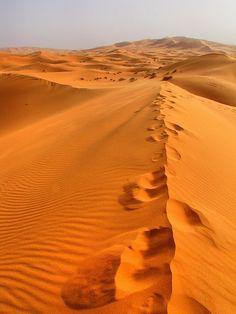 Footprints-Erg Chebbi Sand Dunes-Sahara Desert-Morocco