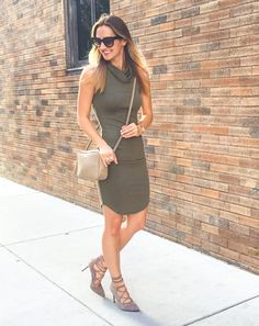 842cc81a4a94f Olive Body-Con Dress   Lace Up Heels   Best of Nordstrom Anniversary Sale  Olive