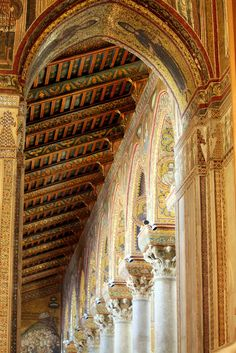 "Cathedral of Monreale, Palermo, Sicily, Italy - The Cathedral stands on the edge of the historical centre of Monreale, a small town overlooking the Oreto River valley & the famous ""Conca d'Oro"". ""The golden Temple"", a fairy-tale construction,  #palermo   #sicilia #sicily"