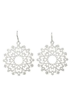 Le Chic White Gold Plated Hammered Floral Antique Earrings - Beyond the Rack