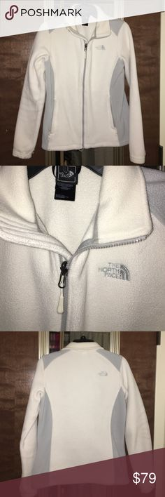 North Face jacket Gently worn, like new white and gray North Face jacket. The North Face Jackets & Coats