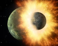 A New View of the Moons Formation.  This artists rendering shows the collision of two planetary bodies. A collision like this is believed to have formed the moon within the first 150 million years after our solar system formed. Credit: NASA/JPL-Caltech  Within the first 150 million years after our solar system formed a giant body roughly the size of Mars struck and merged with Earth blasting a huge cloud of rock and debris into space. This cloud would eventually coalesce and form the moon…
