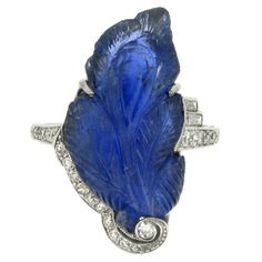 J.E. CALDWELL Art Deco Carved Sapphire Diamond Ring  United States  Circa 1925