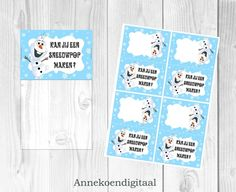 Frozen Olaf traktatie zakje label printable Vul een folie zakje met 3 marshmallows, 5 chocolade druppels, 1 oranje smartie en 2 zoute stengels. Niet het zakje vast met de label en je hebt een super grappige traktatie!