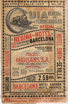 Spain. Railways Timetable Guide, 1929