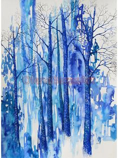 Blue & turquoise trees. Original watercolor painting. Abstract. Mixed media.