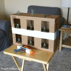 Turn a cardboard box into an army guy shooting gallery for Nerf guns! Plastic army guys are a great target to shoot. They're fun to knock over, and the price is definitely right! In general, we prefer to use Nerf targets that are not people. Shooting army guys doesn't bother me though – maybe because …